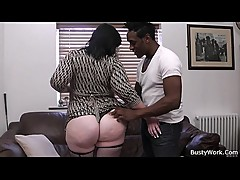 Plumper in fishnets rides his black rod