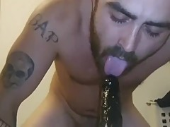 Sucking wife's fat black cock