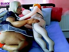 Angel Black the sissy maid plays with her blow up girlfriend