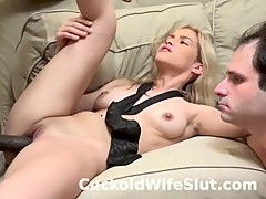Big black cock fuck blonde wife while husband watch