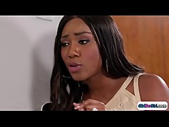 Latin secretary lickd by boss ebony wife