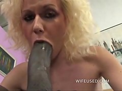 Blonde loves big black cock in her mouth and pussy