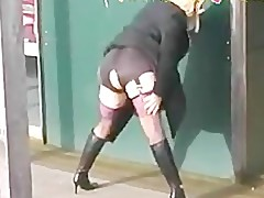 British Slut BBW Housewife In Black Stockings Is Out In Public Fl