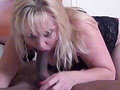 Mature shaved and pale blonde housewifes first black cock experience