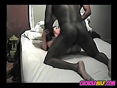 Cuckold MILF enjoys BBC while sissy husband watches
