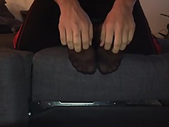 Girlfriends Feet Tickled In Black Nylons