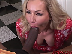 Married MILF Lisa Demarco sucks BBC before interracial ride