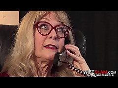 Hot Mature Wife Nina Hartley Spreads Her Pussy For Young Office Worker