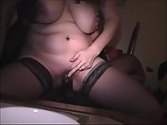 Busty Wife Bouncing on Big Black Cock