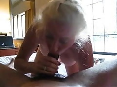 Granny horny sucking black cock