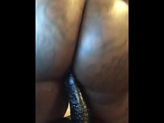 Lonely Ebony Wife Fucks A HUGE BLACK DILDO!!!