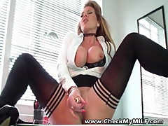 Check My MILF Busty wife in black stockings smooth pussy