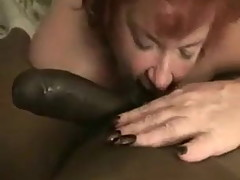 Mature Red Sucks Licks Rims Black Cock