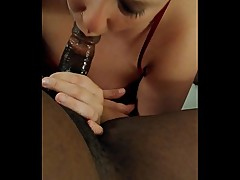 Drunk Slut milf wife deep throat and gagging on BBC in hotel room on vacation